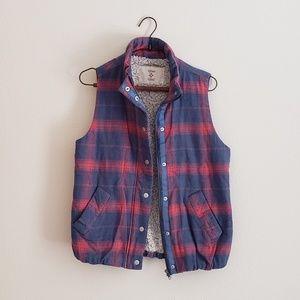 Dylan Los Angeles Plaid Fleece Vest